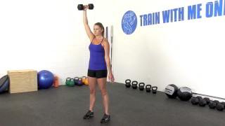 Female exercising - single arm dumbbell shoulder press