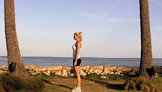 beach body weight burpee - step 1
