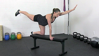 Fit Mom Bench Superman exercise for women