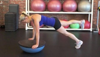 Leg Raise Knee-Outs on Bosu exercise for women