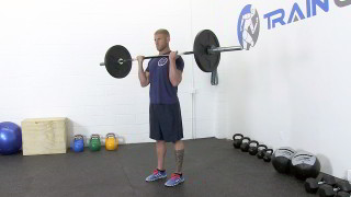 Male exercising - barbell bicep curls