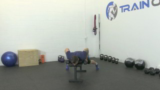 Male exercising - bat wing dumbbell rows