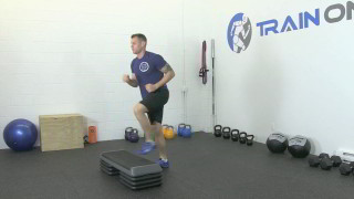 Male exercising - burpee step-ups