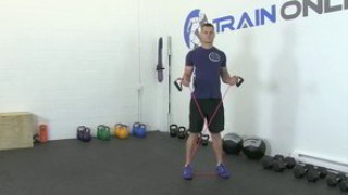 Male exercising - lateral band side steps