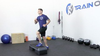 Male exercising - low step-ups