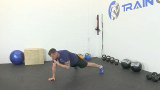 Male exercising - push-up plank shoulder touch