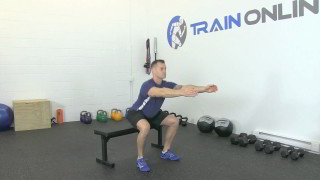 Male exercising - sit squat on bench