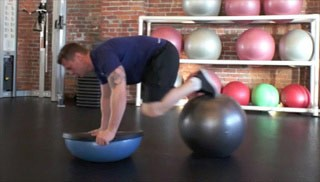 Bosu Push Up with Knee Tuck Exercise