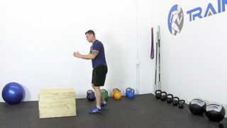 Male exercising - burpee box jumps