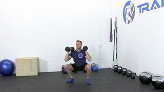Male exercising - dumbbell front squat