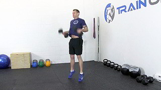 Male exercising - dumbbell hang clean