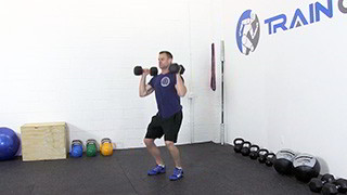 Male exercising - dumbbell push press