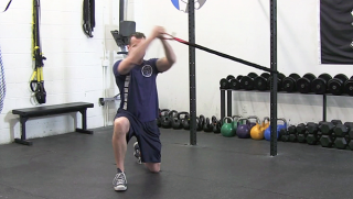 Kneeling Band Circles exercise for men