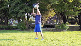 Male exercising - outdoor burpee press