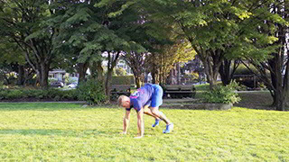 Male exercising - outdoor push-up burpee