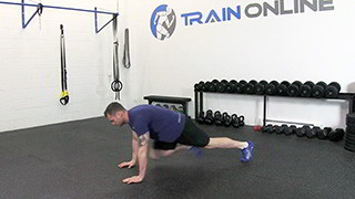 Male exercising - running mountain climbers
