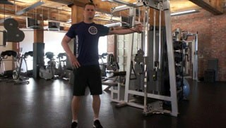 single arm reverse cable fly exercise