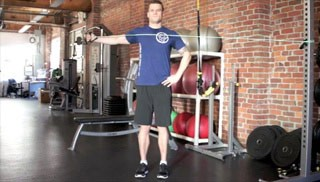 single arm standing reverse fly exercise