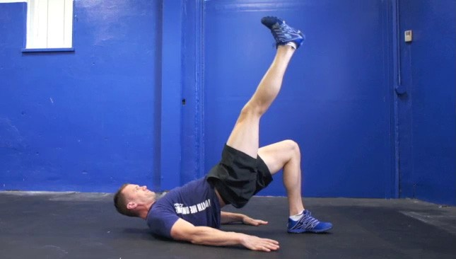 single leg glute bridge - step 2