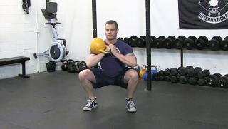 Single Side Kettlebell Front Squat exercise for men