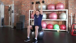 stability ball shoulder press - step 2