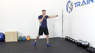 Male exercising - step jab