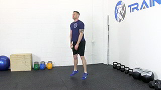 Male exercising - touch drops squats
