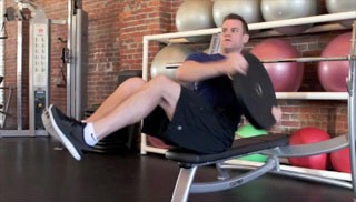 Weight Plate Trunk Twist On Bench Exercise